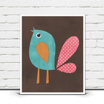 Bird Print - Woodland Nursery Wall Art