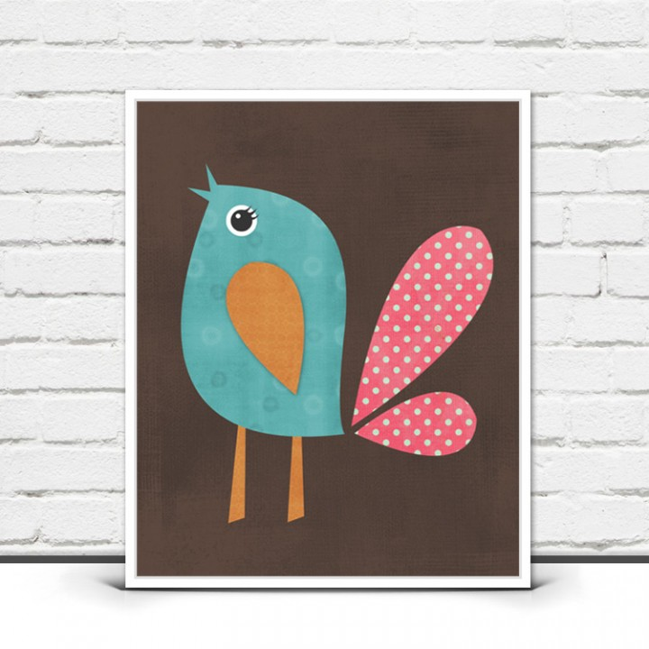 Bird Print – Woodland Nursery Wall Art
