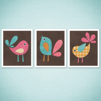 Three Little Birds Print Set - Woodland Nursery Wall Art