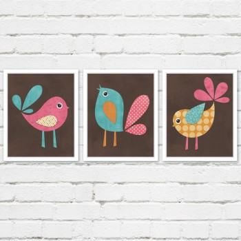 Three Little Birds Print Set - Woodland Nursery Wall Art
