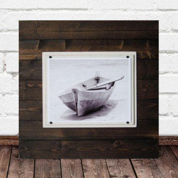 Extra Large Plank Frame in Dark Stain with 2 white mats and 11x14 Picture