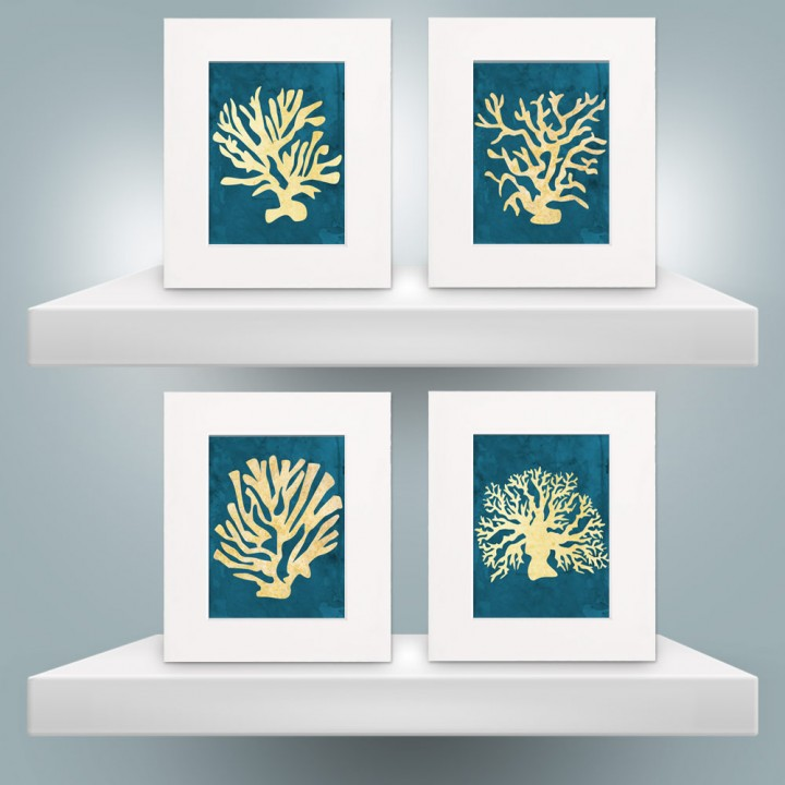 Set of Watercolor Coral Prints