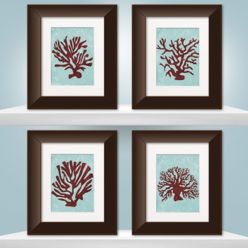 Set of 4 Watercolor Coral Prints