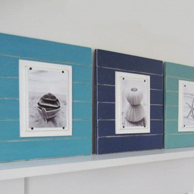 Shades of Blue Plank Frame Set 3