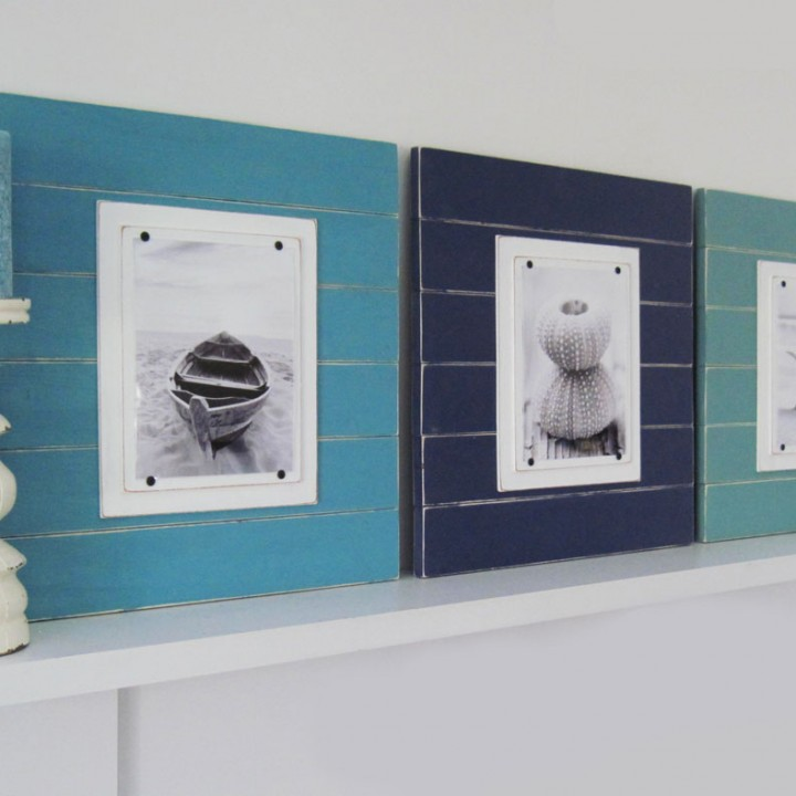 Shades of Blue Plank Frame Set 2
