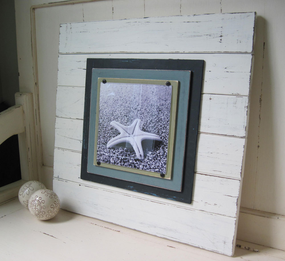 Extra Large White Distressed Plank Frame for 8x8 Photo- Project Cottage