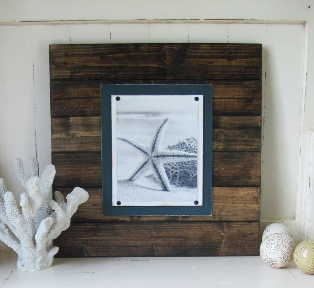 Extra Large Dark Wood Plank Frame with Dark Teal Accents 8x10 Photo ...