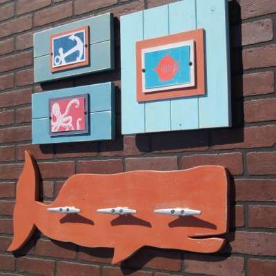 Orange Whale Coat Rack