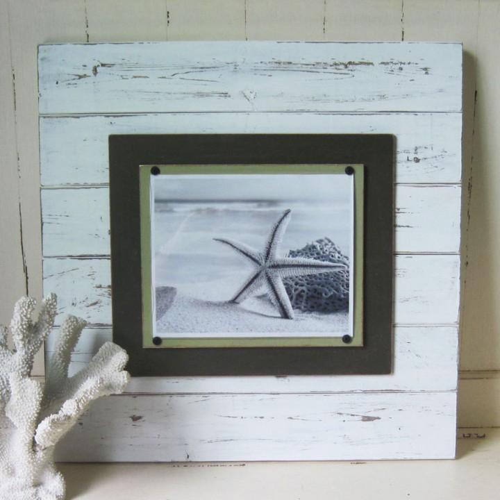 large white distressed plank frame