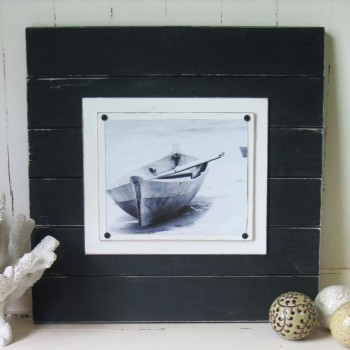 extra large black distressed plank frame