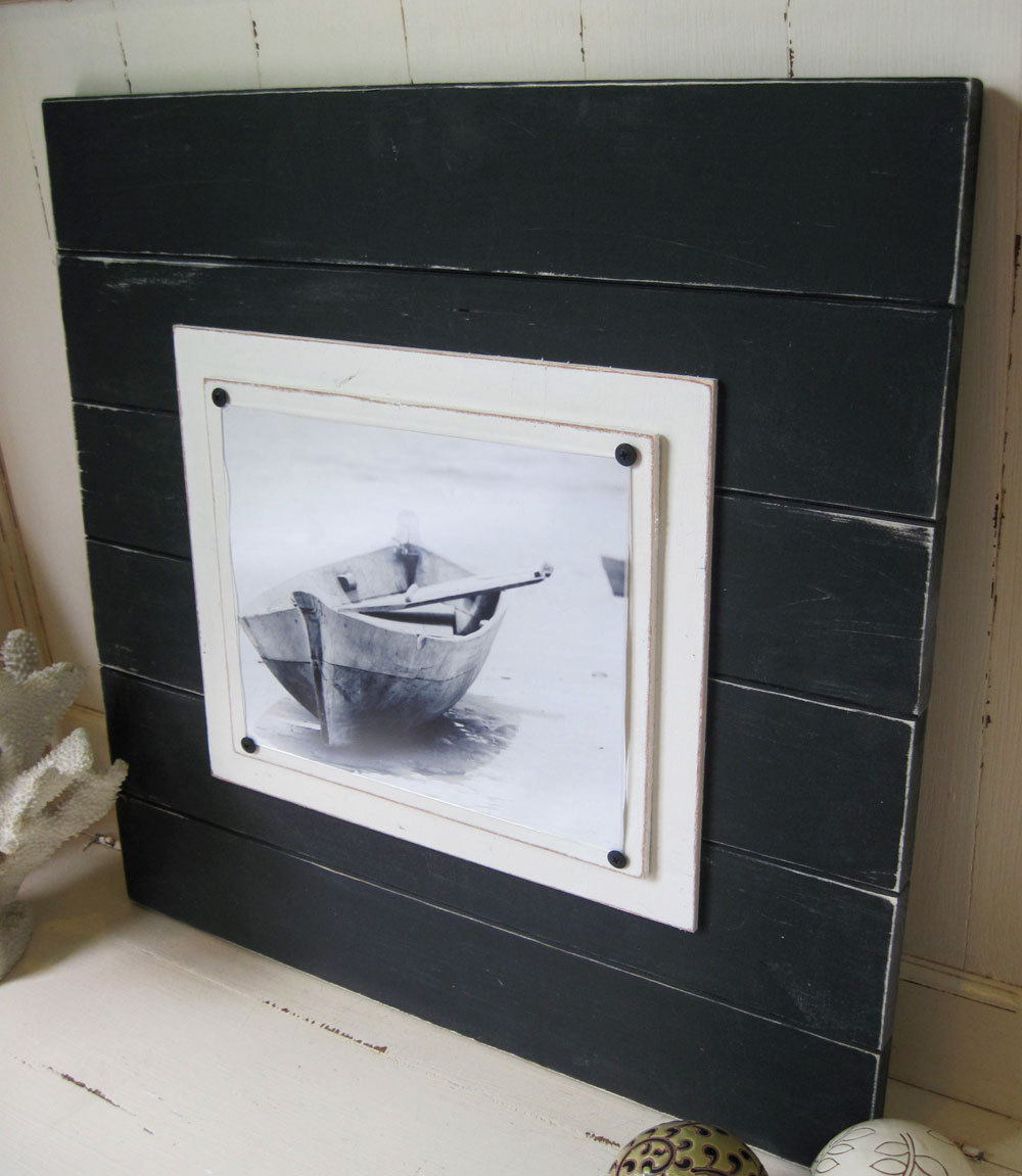 extra large black distressed plank frame 4