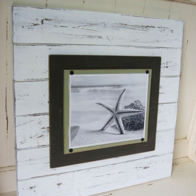 large white distressed plank frame 2
