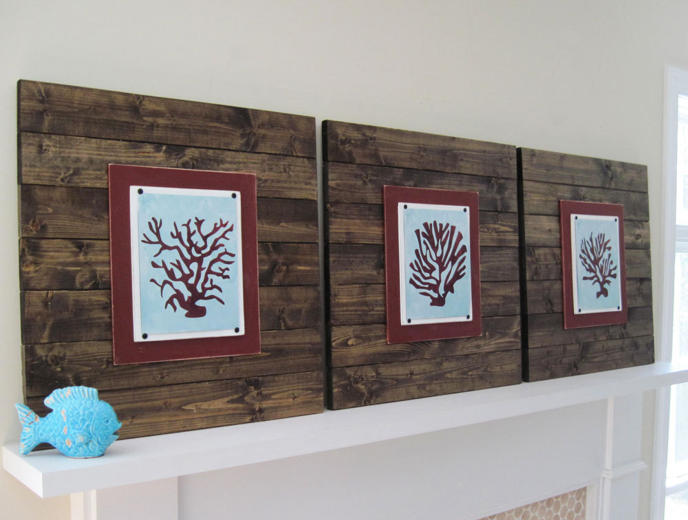 Wood Plank Wall Art dark wood plank frame with coral sillhouettes- project cottage