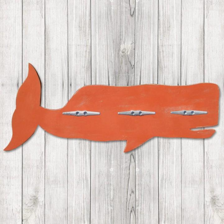 Orange Whale Coat Rack