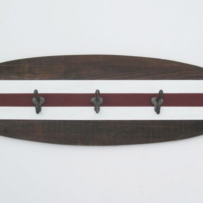 dark wood surfboard coat rack 3