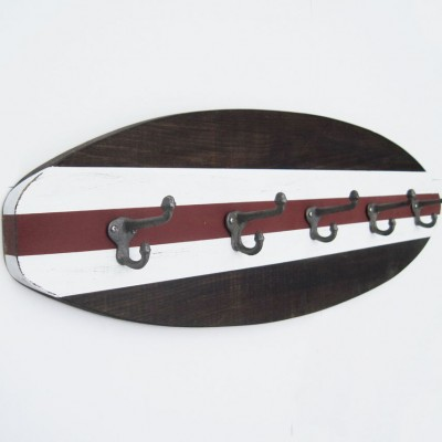 dark wood surfboard coat rack 2