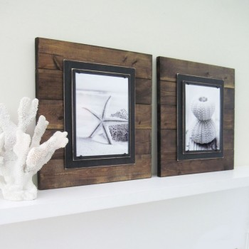 dark stained plank frame pair 2