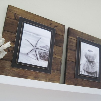 dark stained plank frame pair 3