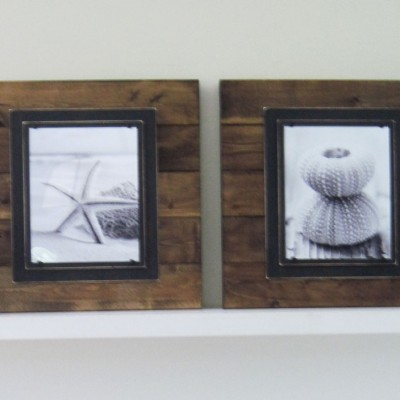 dark stained plank frame pair 4