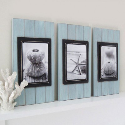 seafoam and black plank frame set