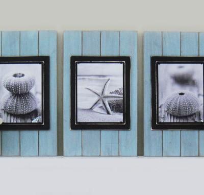 seafoam and black plank frame set 2