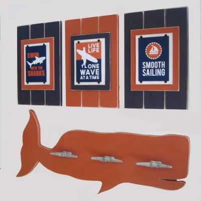 A set of three Surfer themed prints in Navy Blue and Orange which will look awesome in your surf themed kids room. Colors can be customized.