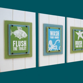Set of 3 Framed Prints for Kids Bathroom with Sea Animals