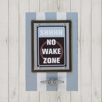 Framed Shhhh, No Wake Zone Print in Marina Blue and Brown