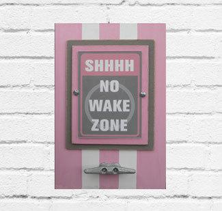 Light Pink & Gray No Wake Zone Framed Print
