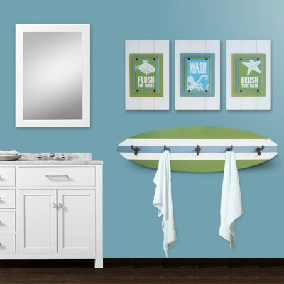 Framed set of 3: Flush, Wash & Brush, on white plank frames