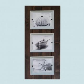 Triple Dark Stain Plank Frame