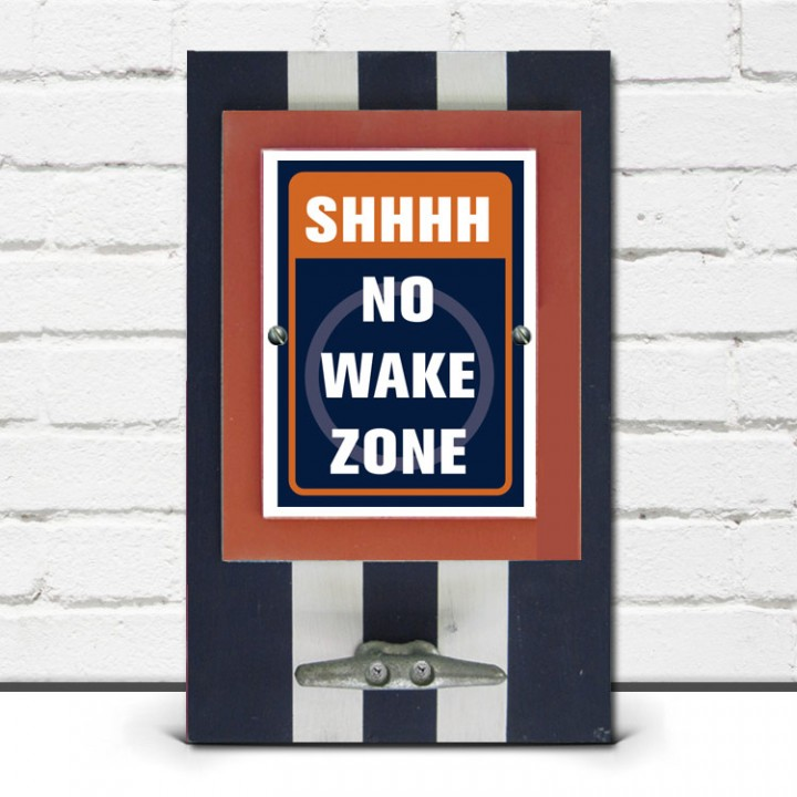 Navy Blue & Orange Shhhh, NO Wake Zone Framed Print