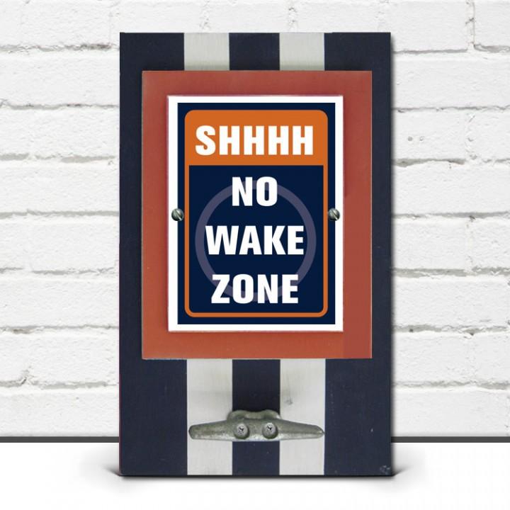 Navy Blue & Orange Shhhh, NO Wake Zone Framed Print