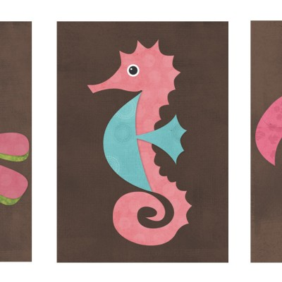 Set of 3 Sea Creature Prints