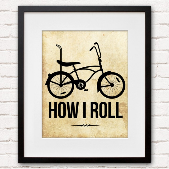 How I Roll Bicycle Print or Canvas