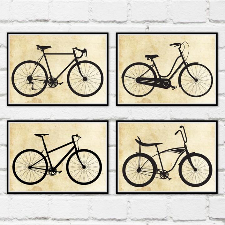 Set of 4 Bicycle Prints