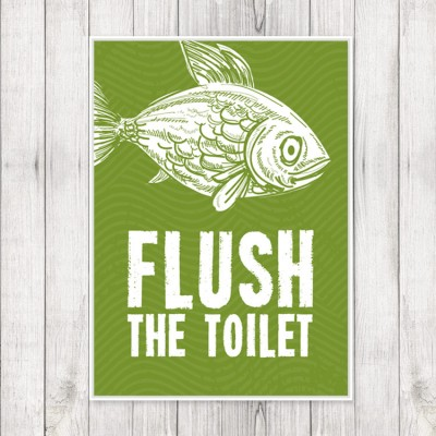 "Kid's Bathroom Prints - Set of 3 Sea Creature Prints - Fish ""Flush"""