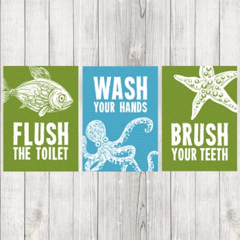 Kid's Bathroom Prints - Set of 3 Sea Creature Prints