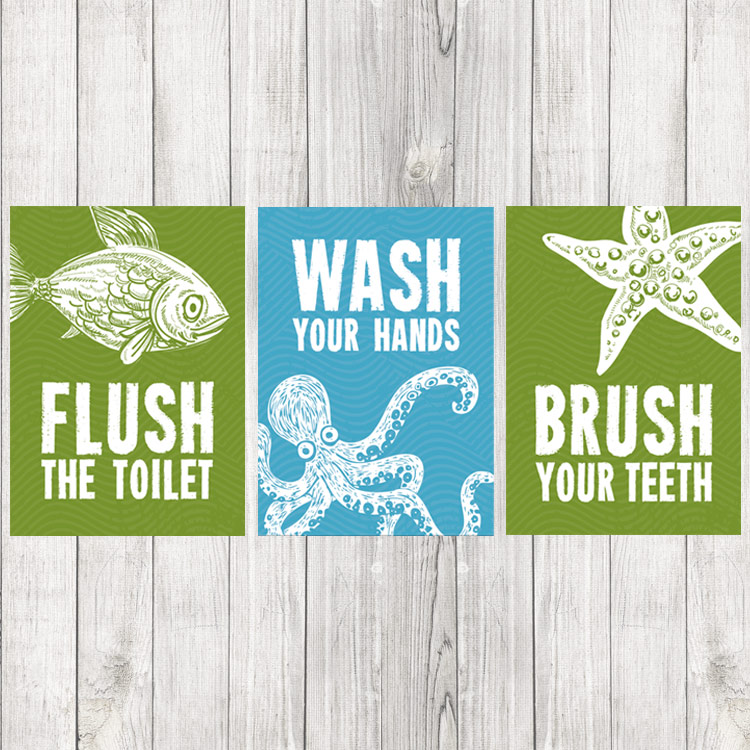 kids bathroom prints set of 3 sea creature prints - Kid Prints