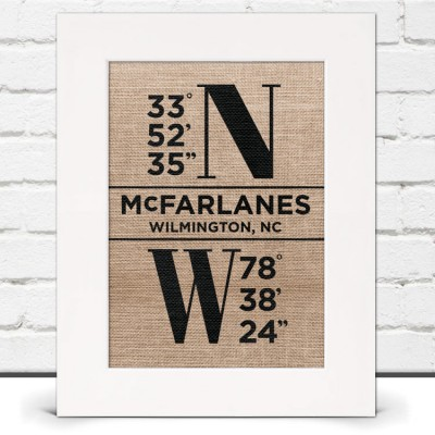 Longitude and Latitude Burlap Print