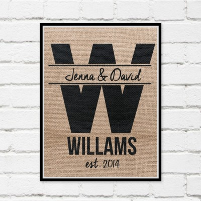 Personalized Burlap Print