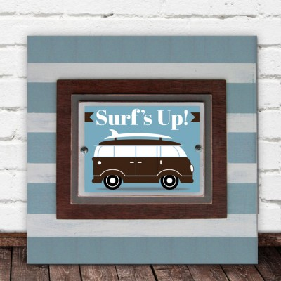Framed Surfer Van Print