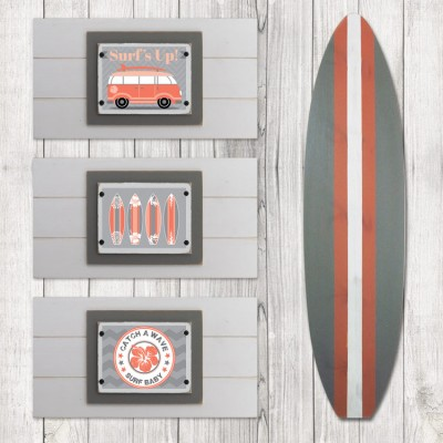 Coral and Gray Beach Nursery Sets
