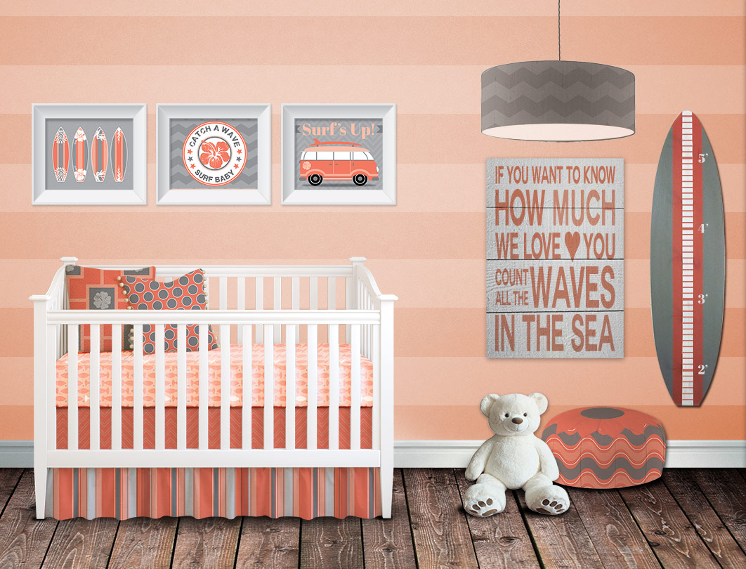 C And Gray Beach Nursery Set