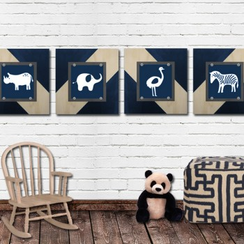 Set of 4 Framed Mod Animal Prints