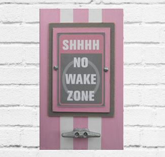 Light Pink & Gray No Wake Zone Framed Print