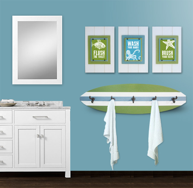 Amazing Beach Themed Bathroom Decoration Kid 39 S Beach Bathroom Print Set And Surfboard Towel Rack Project