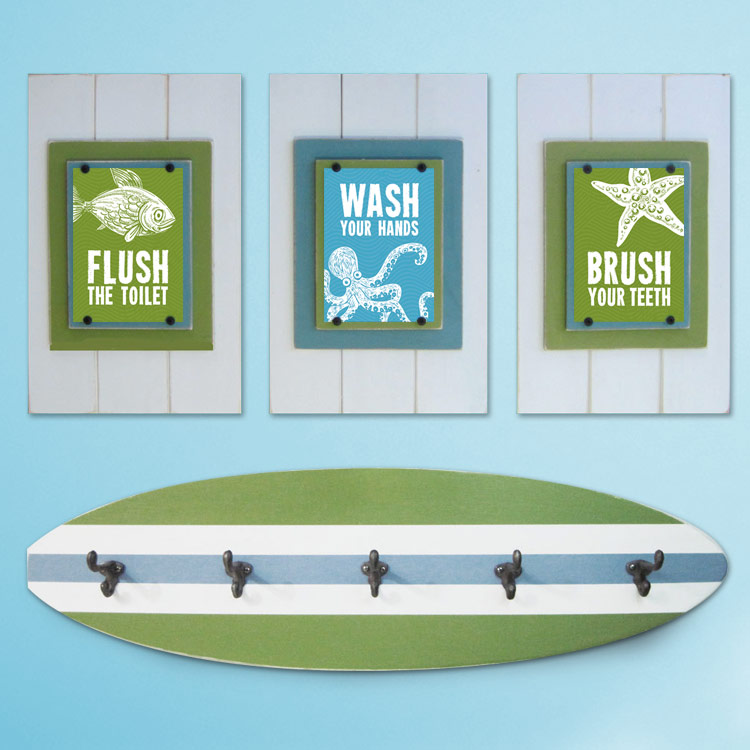 Kidu0026#39;s Beach Bathroom Print Set and Surfboard Towel Rack ...