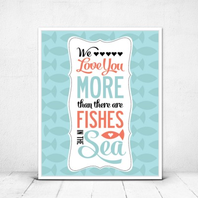 Nautical Nursery Decor - We Love You More than there are Fishes in the Sea - Kid's room Art Print in Mint and Coral