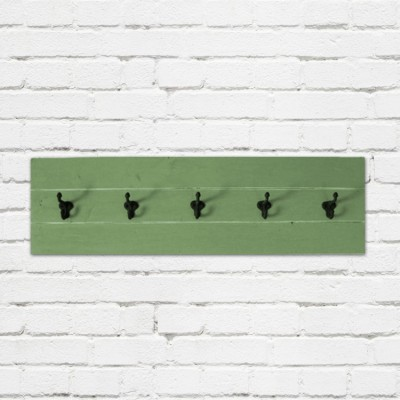 Spring Green Plank Coat Rack with Schoolhouse Hooks